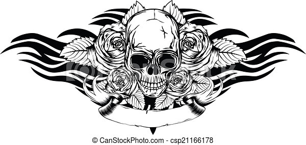 skull roses tribal - csp21166178