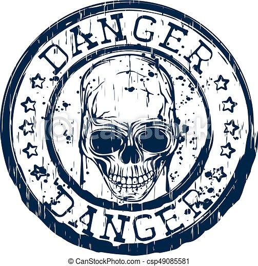 Skull Stamp Danger Vector Illustration Blue Old Dirty Round