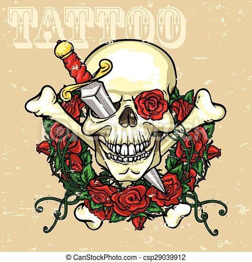 Skull Tattoo Design - csp29039912