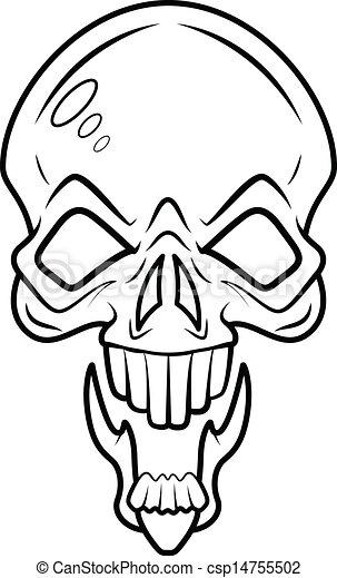 Skull Tattoo Vector Drawing Art Of Cartoon Tattoo Style Skull Face