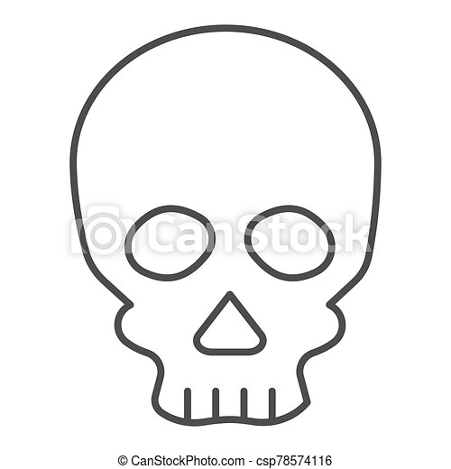 Skull thin line icon. Deadman scary skeleton head. Halloween party vector design concept, outline style pictogram on white background. - csp78574116