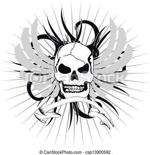 skull tribal tattoo1 - csp13900592