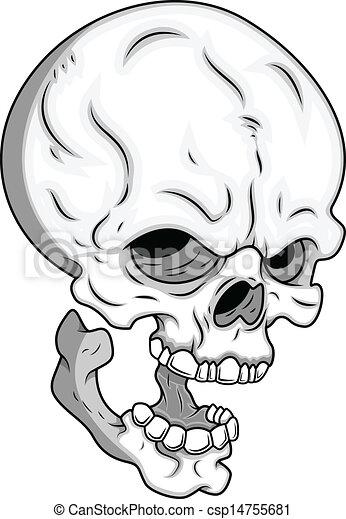 skull vector drawing art of cartoon scary skull face