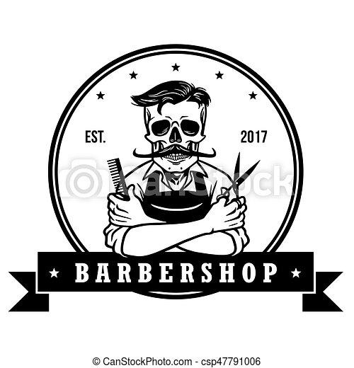 skull vintage barbershop logo template vector design vector clipart rh canstockphoto com barber shop clipart black and white barbers clipart