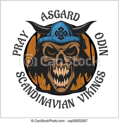 Skull wearing a viking helmet. - csp39252567