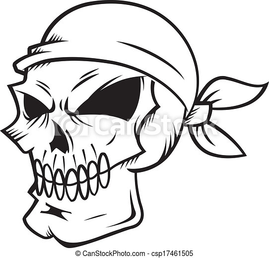 skull wearing bandana isolated on white backgroud vector clipart rh canstockphoto com bandana vector free download bandana vectoriel