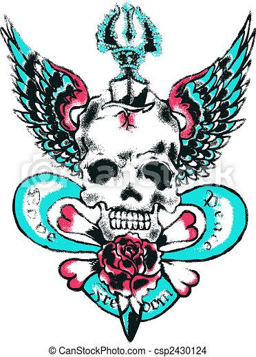 Skull Wing Rock Tattoo - csp2430124