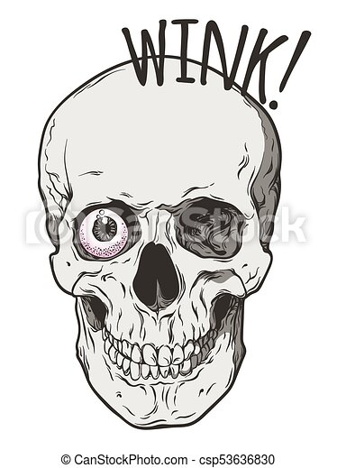 skull winks with one eye comic art style human skull winks with one rh canstockphoto com Animated Winking Eyes Clip Art Winking Eye Drawing
