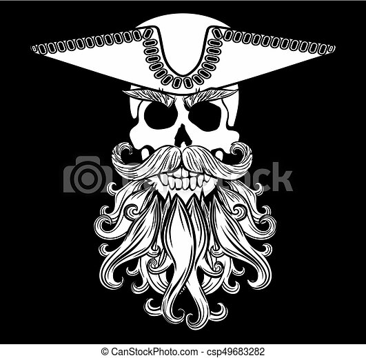 Skull With Beard Pirate Symbol Jolly Roger A And Wearing