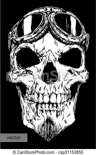 skull with beard on glasses pilot - csp31153855