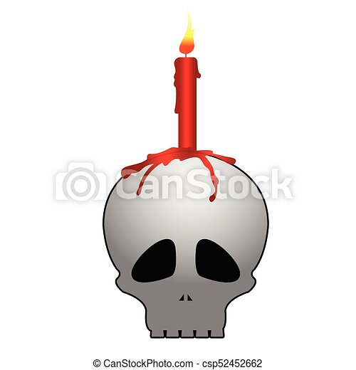 Skull with candle - csp52452662