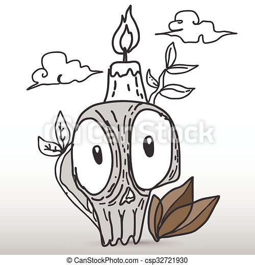 Skull with candle - csp32721930