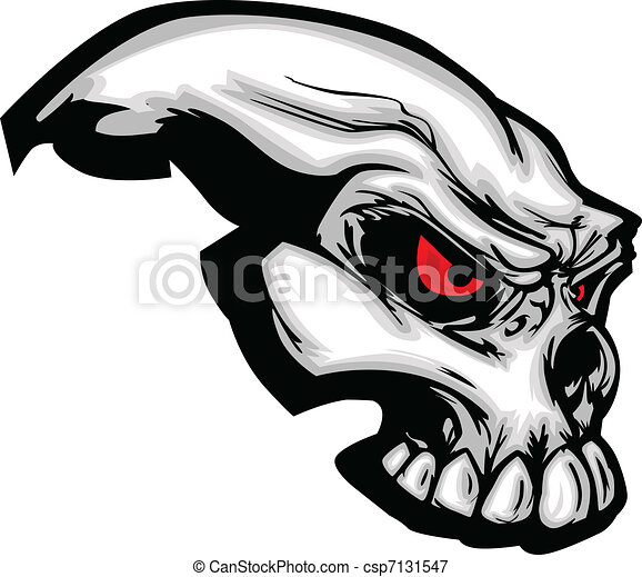 Skull with Cartoon Vector Image - csp7131547