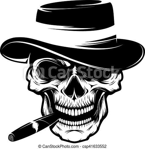 Skull with cigar and hat. design element for emblem, badge ...