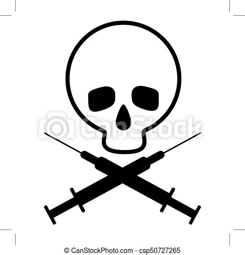 Skull with crossed syringes  Black and white icon  Promoting fight against  drug addiction  Vector Image