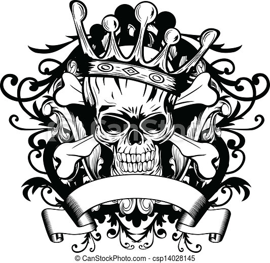 Skull With Crown Vector Illustration Skull With Crown