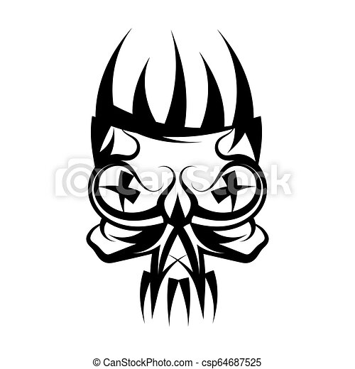 Skull with crown on head tattoo. - csp64687525
