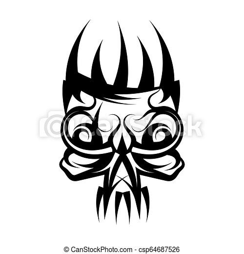 Skull with crown on head tattoo. - csp64687526