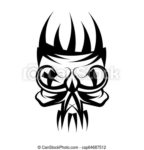 Skull with crown on head tattoo. - csp64687512