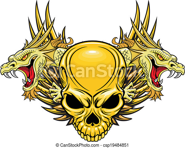 Illustration of skull with dragons head in vector.