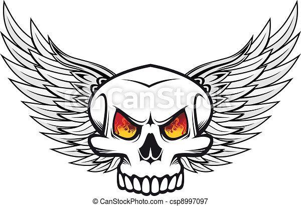 Skull With Fire Eyes And Wings