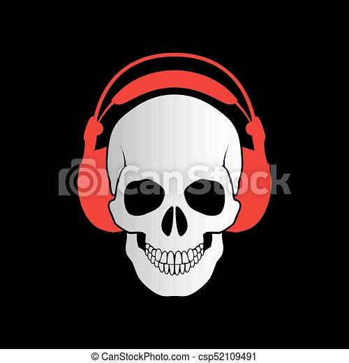 Skull with Headphones - csp52109491
