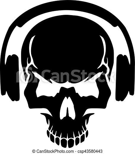 cb0fb13fc3d Skull with headphones - csp43580443