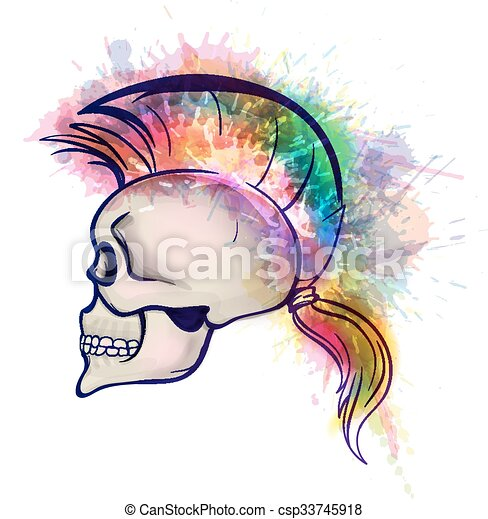 Skull with mohawk hair style made of colorful grunge splashes - csp33745918