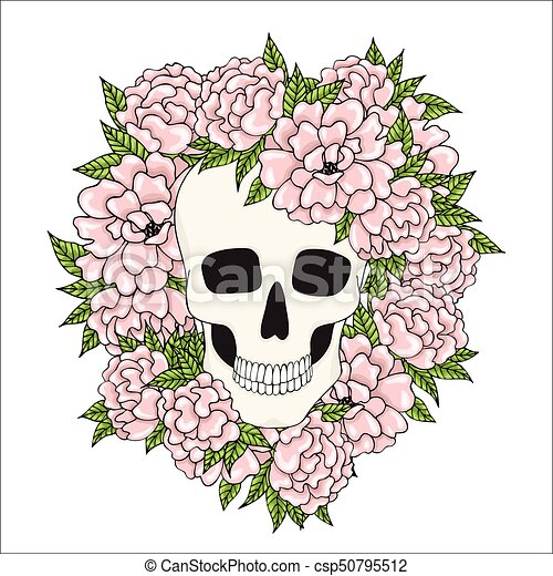 A human skull with pink flowers on a white background vector clip skull with pink flowers on a white background csp50795512 mightylinksfo