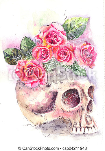 Skull With Roses Water Color From A Skull Roses Grow
