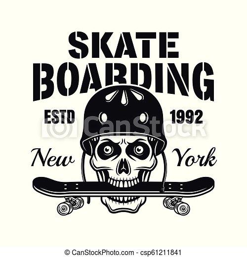 Skull with skate deck in teeth vector emblem - csp61211841
