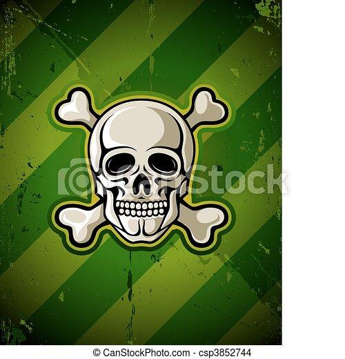 skull with skeleton bones on grunge military background - csp3852744