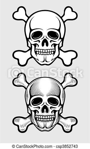 skull with skeleton bones piratic symbol - csp3852743