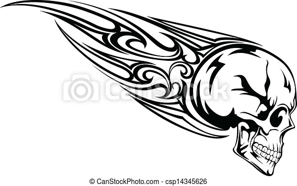 Vector Illustration Skull With Tribal