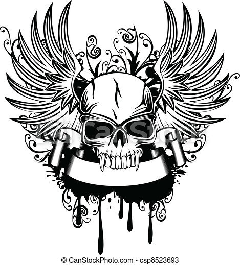 Skull With Wings 1 Vector Image Skull With Wings And
