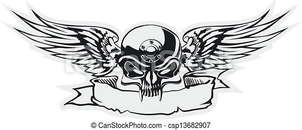 skull with wings at gray basis - csp13682907