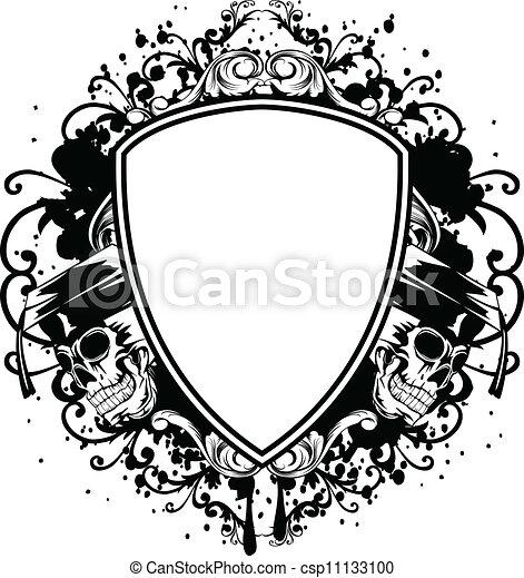 skulls in graduation cap and shield - csp11133100