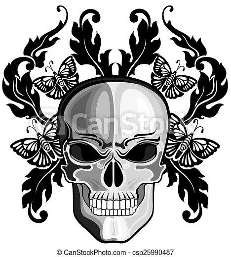 skulls with floral patterns vector skull rh canstockphoto com vector skull images vector skull frameset