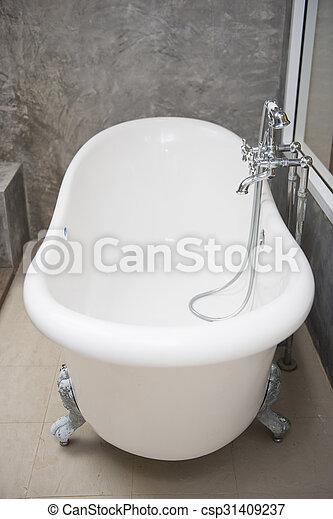 Skur, årgång, kran, badkar, badrum. Kran, badkar, årgång ...