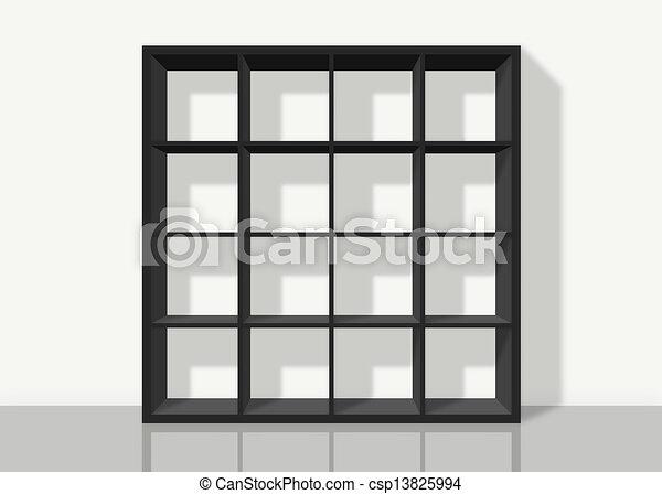 Skwer ściana Czarne Tło Półka Na Książki Biały Opróżniać