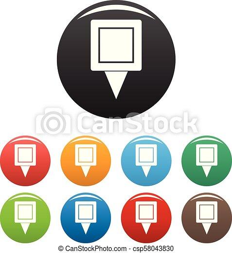 skwer, komplet, szpilka, ikony, kolor, wektor - csp58043830