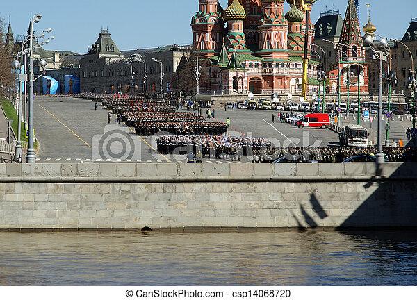 skwer, parada, może, moskwa, powtórka, czerwony, russia., wojskowy, 2013, 07 - csp14068720