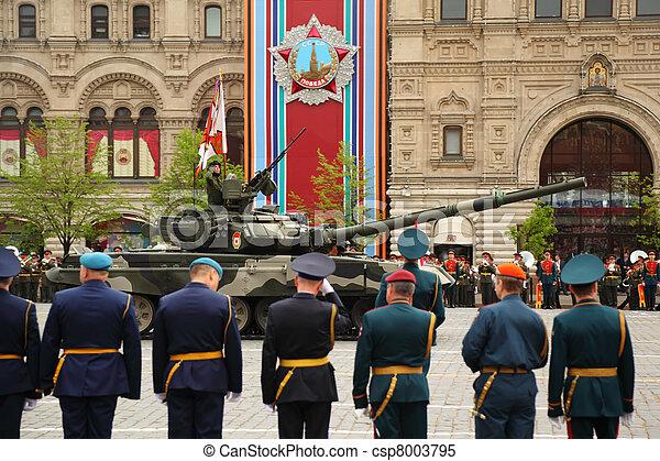 skwer, rosja, 6, moskwa, uczestniczyć, bitwa, wojsko, 6:, -, główny kanał, 2010, czerwony, może, t-90, moskwa, powtórka, wielki, zbiornik, wojna, zwycięstwo, patriotyczny, honor - csp8003795