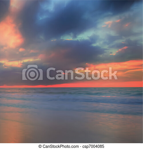 Sky and sea background. Composition of nature. Vector - csp7004085