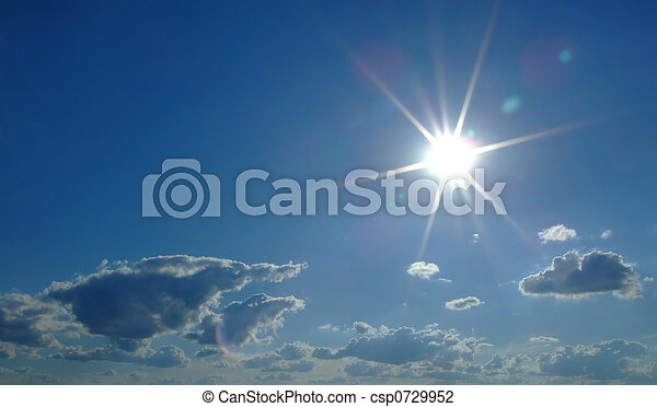 sky background. sky, sun and clouds background 2 - csp0729952