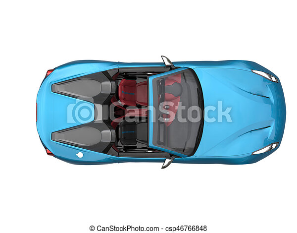 Drawing Of Sky Blue Fast Race Car Top Down View
