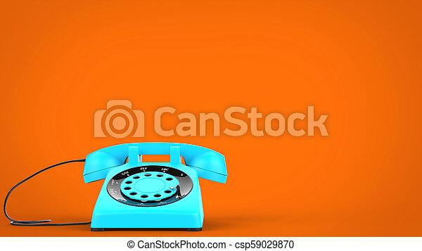 Sky blue vintage telephone - 3D Illustration - csp59029870