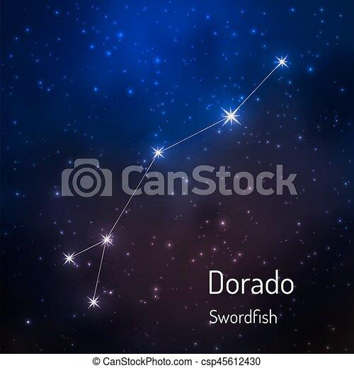 sky., hvězdnatý, ilustrace, vektor, večer, souhvězdí - csp45612430