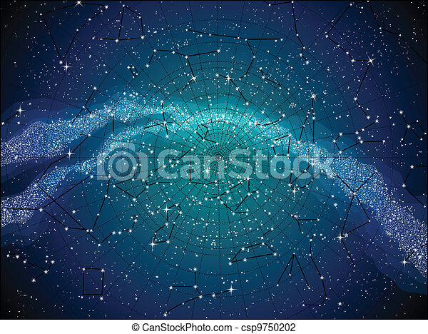 Sky Map With Constellasions Astronomical Chart Of Northern