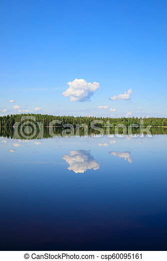 Sky reflects from lake at summer day - csp60095161